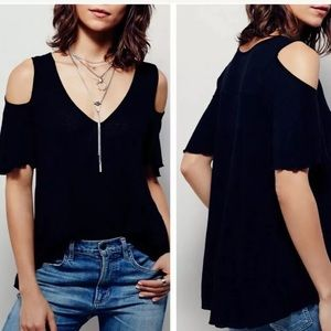 Free People Bittersweet Cold Shoulder Shirt Top